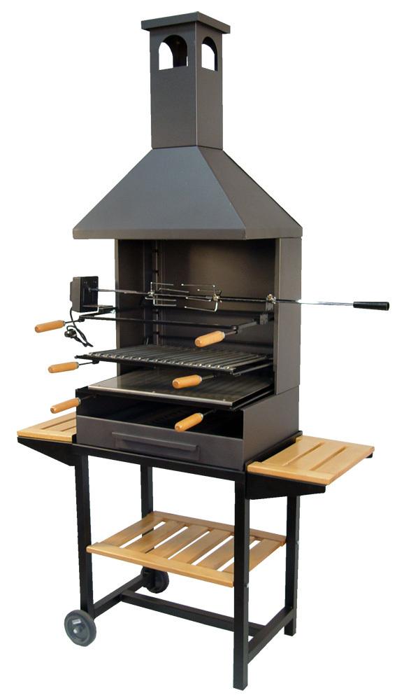 Barbacoa de carb n con chimenea y rustidor the barbecue store - Barbacoas hierro fundido ...