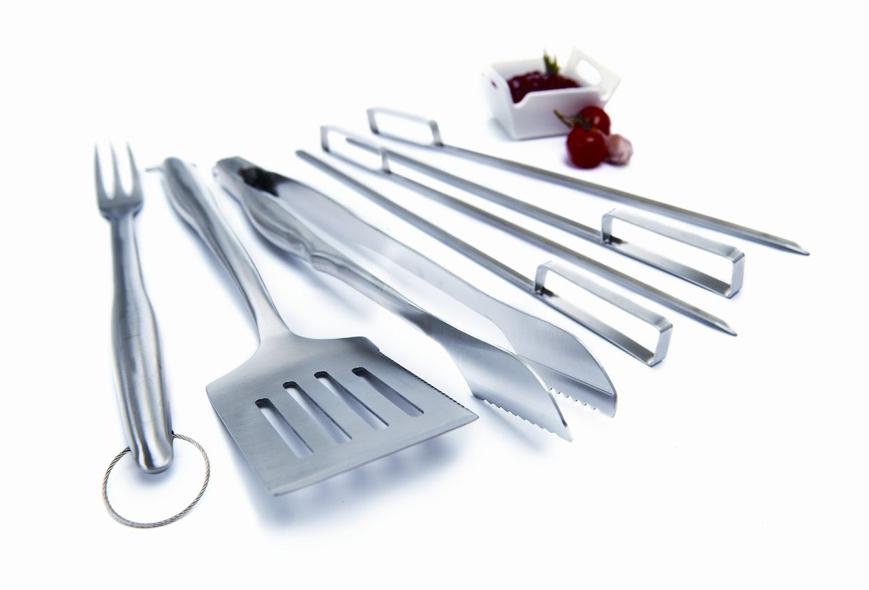 Set deluxe 7 utensilios acero inoxidable para barbacoas - Utensilios para chimeneas ...