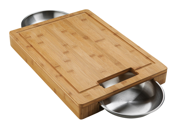 Bamboo cutting board with complementary cups the barbecue store - Cutting board with prep bowls ...