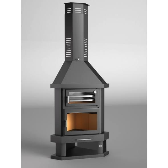 Chimenea de le a rinc n con horno modelo c 100 rh todo - Chimeneas para hornos de lena ...