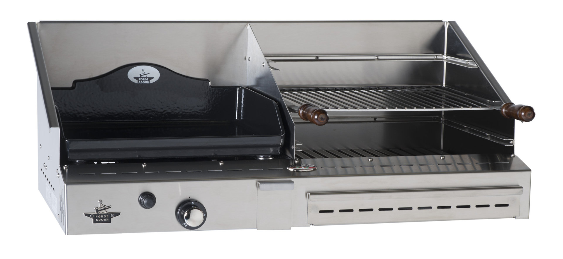 Duo plancha de gas y barbacoa 500 inox the barbecue store - Plancha para cocina a gas ...