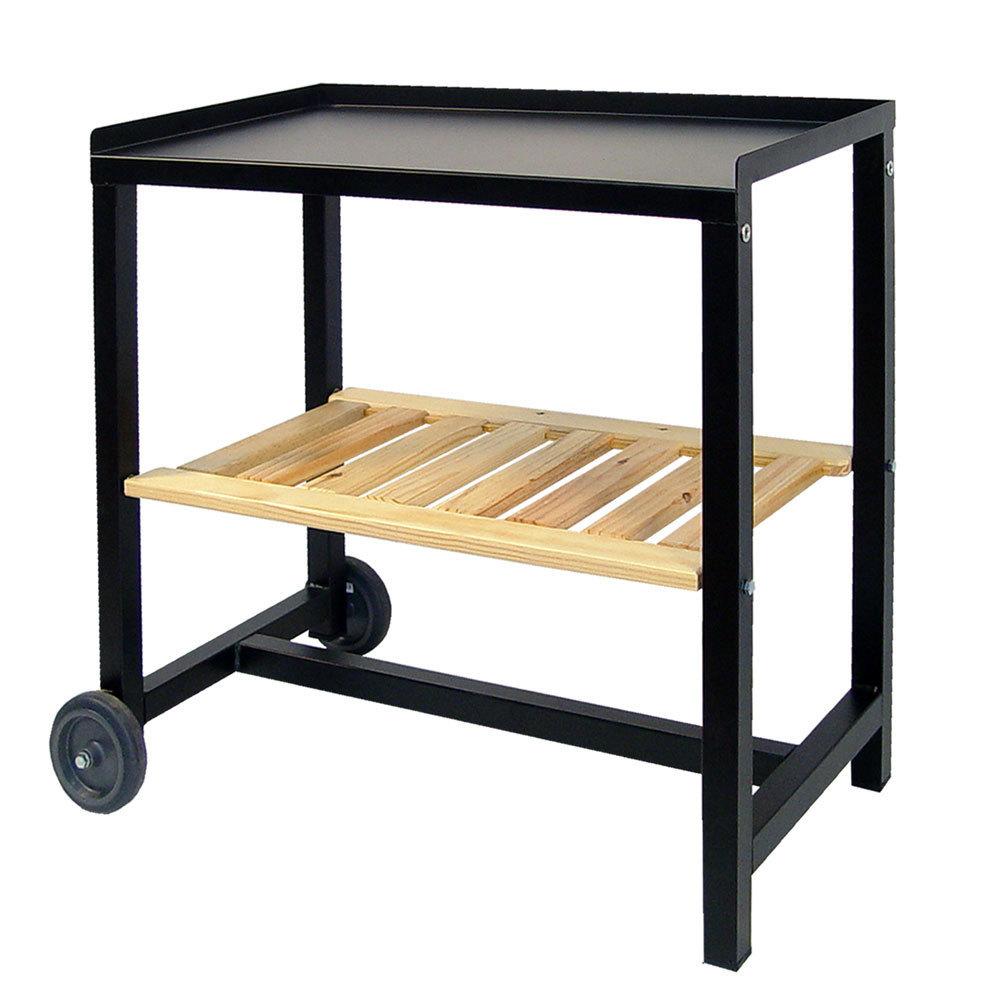 Carro de jard n con estante de madera grande para barbacoas for Carritos de madera para jardin