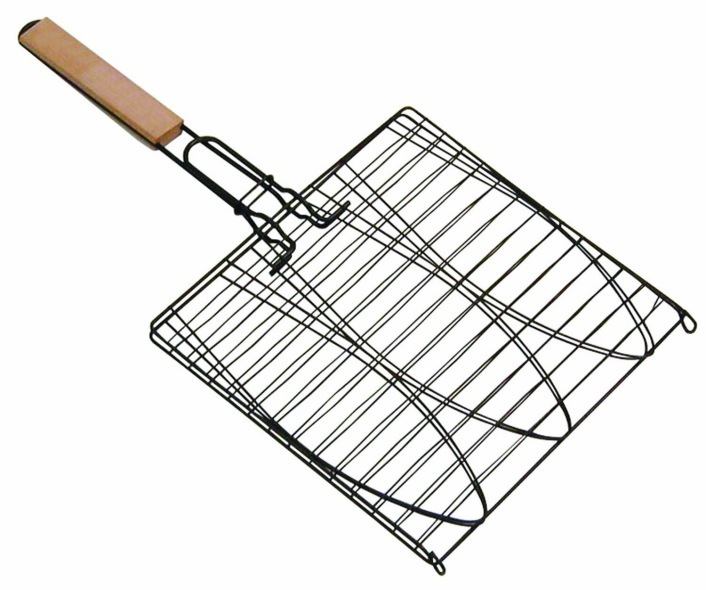 Non stick triple fish basket the barbecue store spain for Fish basket walmart