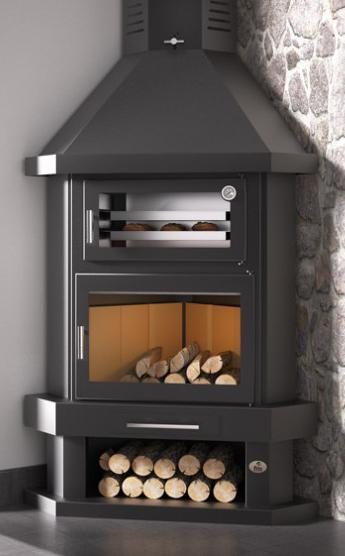 Chimenea de le a rinc n con horno modelo c 100 rh todo estufas - Calefaccion con chimenea de lena ...