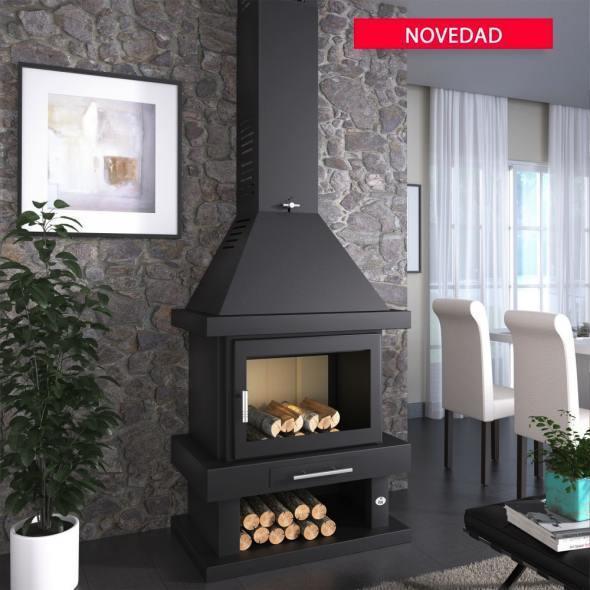 chimenea de le a frontal modelo c 200 las mejores estufas. Black Bedroom Furniture Sets. Home Design Ideas