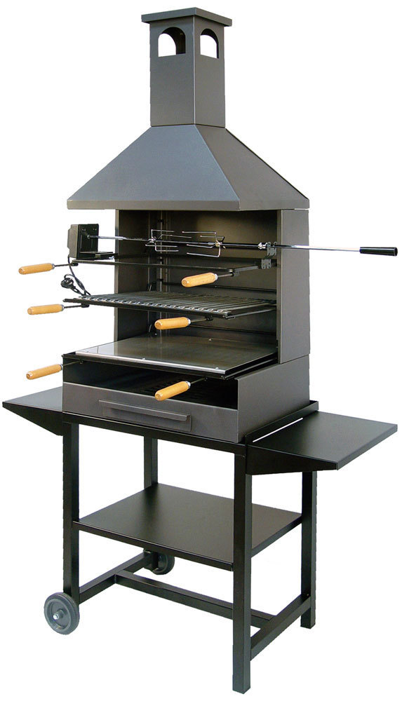 Barbecue With Chimney Full Metal With Rotisserie Kit The