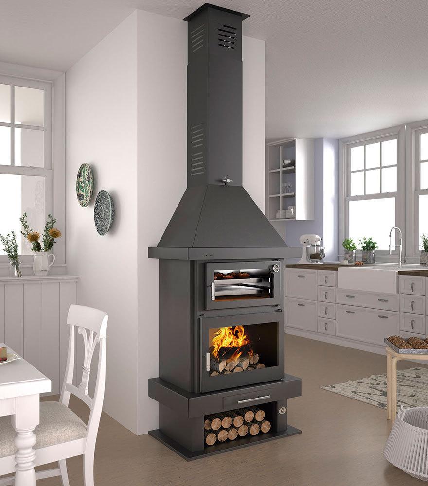 Chimenea de le a con horno modelo c 100 h las mejores for Precios chimeneas lena