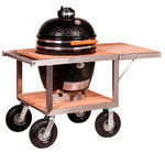 Kamado Monolith Le Chef in Black with Buggy and Side Table