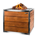 Square S/S Lounge Gas Firepit Teak Table