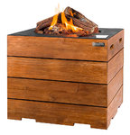 Square Lounge Gas Firepit Teak Table