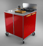Multipurpose Portable BBQ island in Red Chef´s Wagon