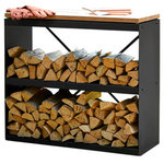 FireWood Storage Shed Black with 2 Shelves