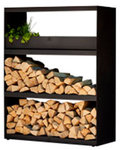 FireWood Storage Shed Black with 3 Shelves