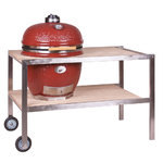 Kamado Monolith Le Chef Proserie 1.0 Red with Teak table