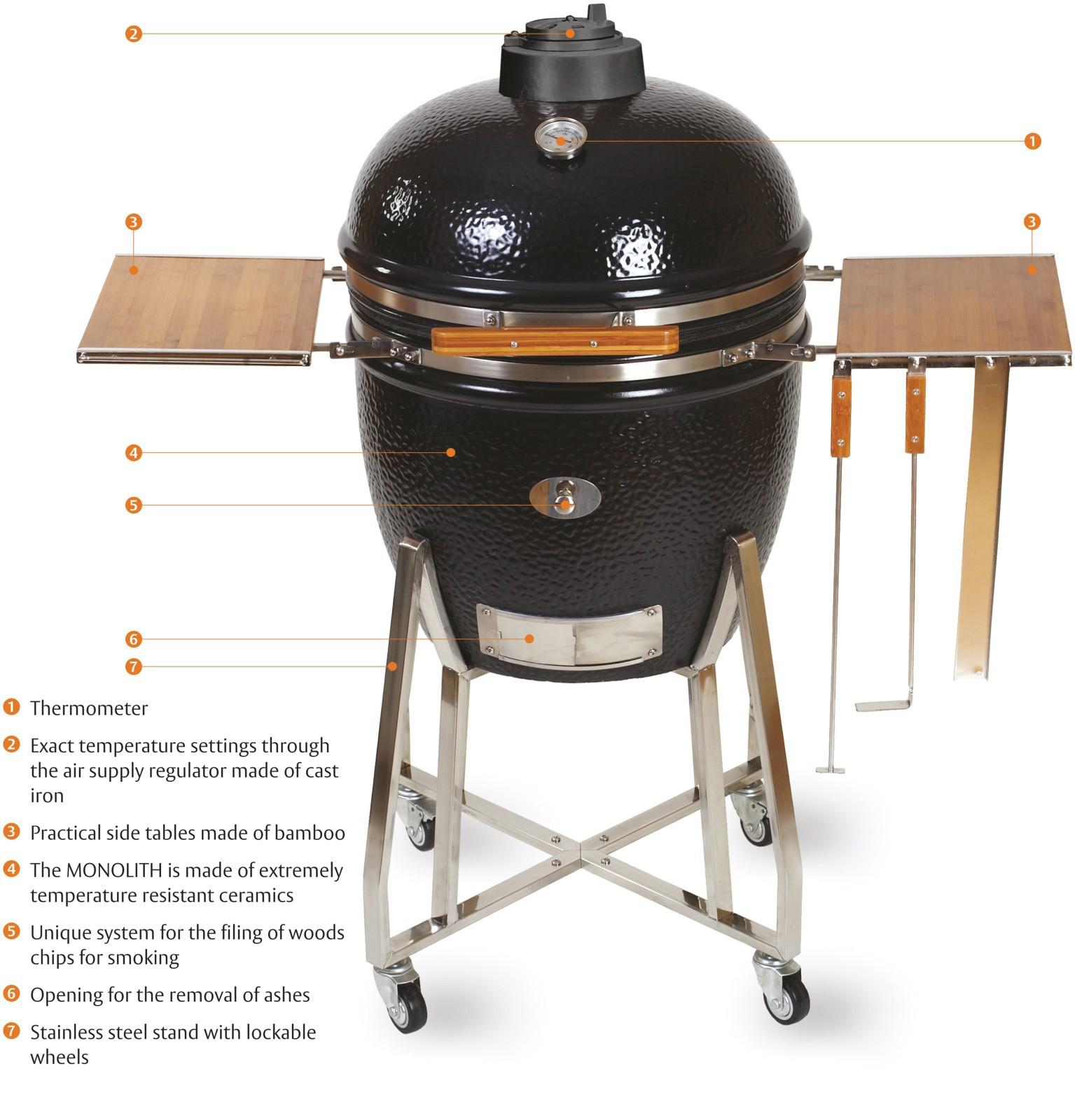kamado monolith grill le chef in black with cart the bbq. Black Bedroom Furniture Sets. Home Design Ideas
